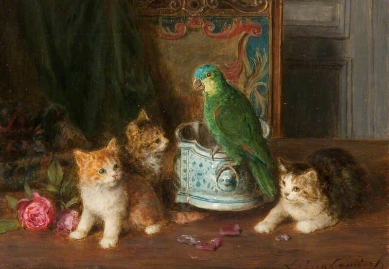 Louis Eugene Lambert. Cats, Kittens and a Parrot