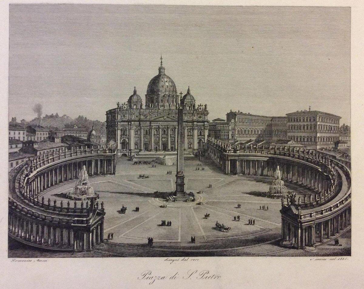 Д. Амичи. Площадь Святого Петра. Литография. 1835 год