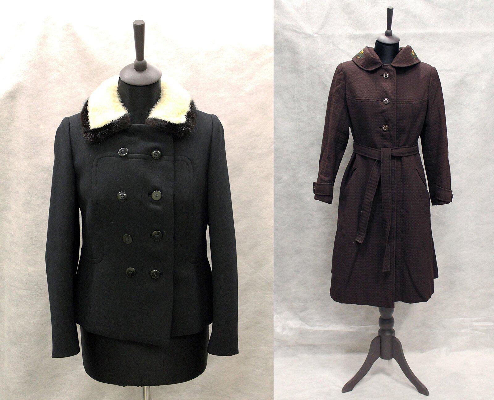 Жакет с воротником из искусственного меха (слева). Пальто с капюшоном (справа). Музей моды