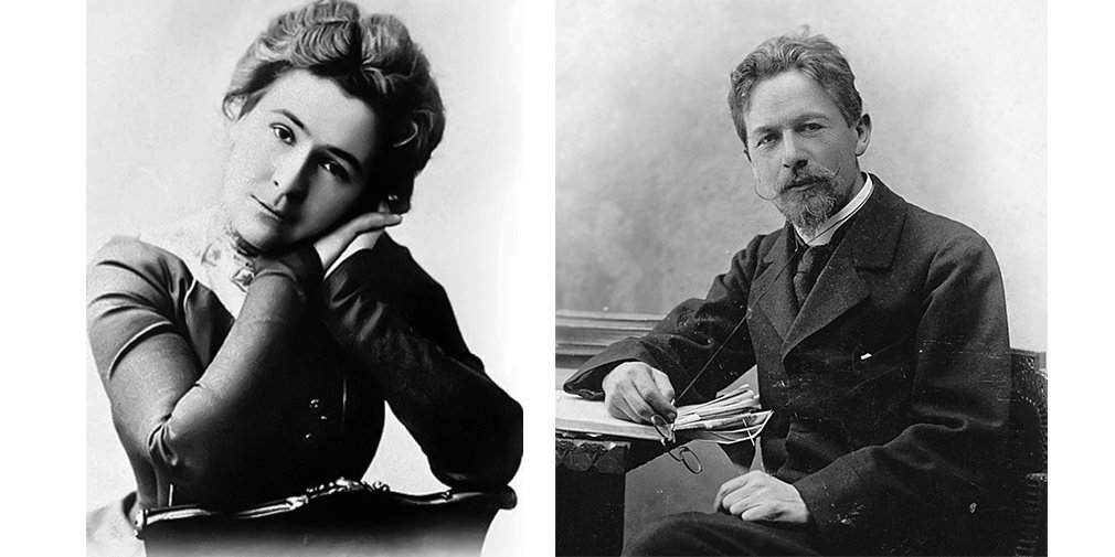 Olga Knipper-Chekhova, left, and Anton Chekhov, right