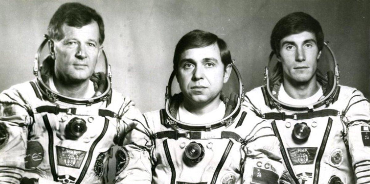 The Soviet-French crew, Jean-Loup Chrétien, Vladislav Volkov and Sergei Krikalyov. Photo courtesy of the Memorial Museum of Cosmonautics