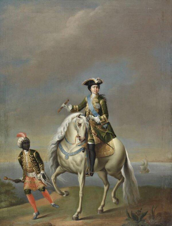 G. Grooth. Equestrian portrait of Catherine I. Mid-XVIII century