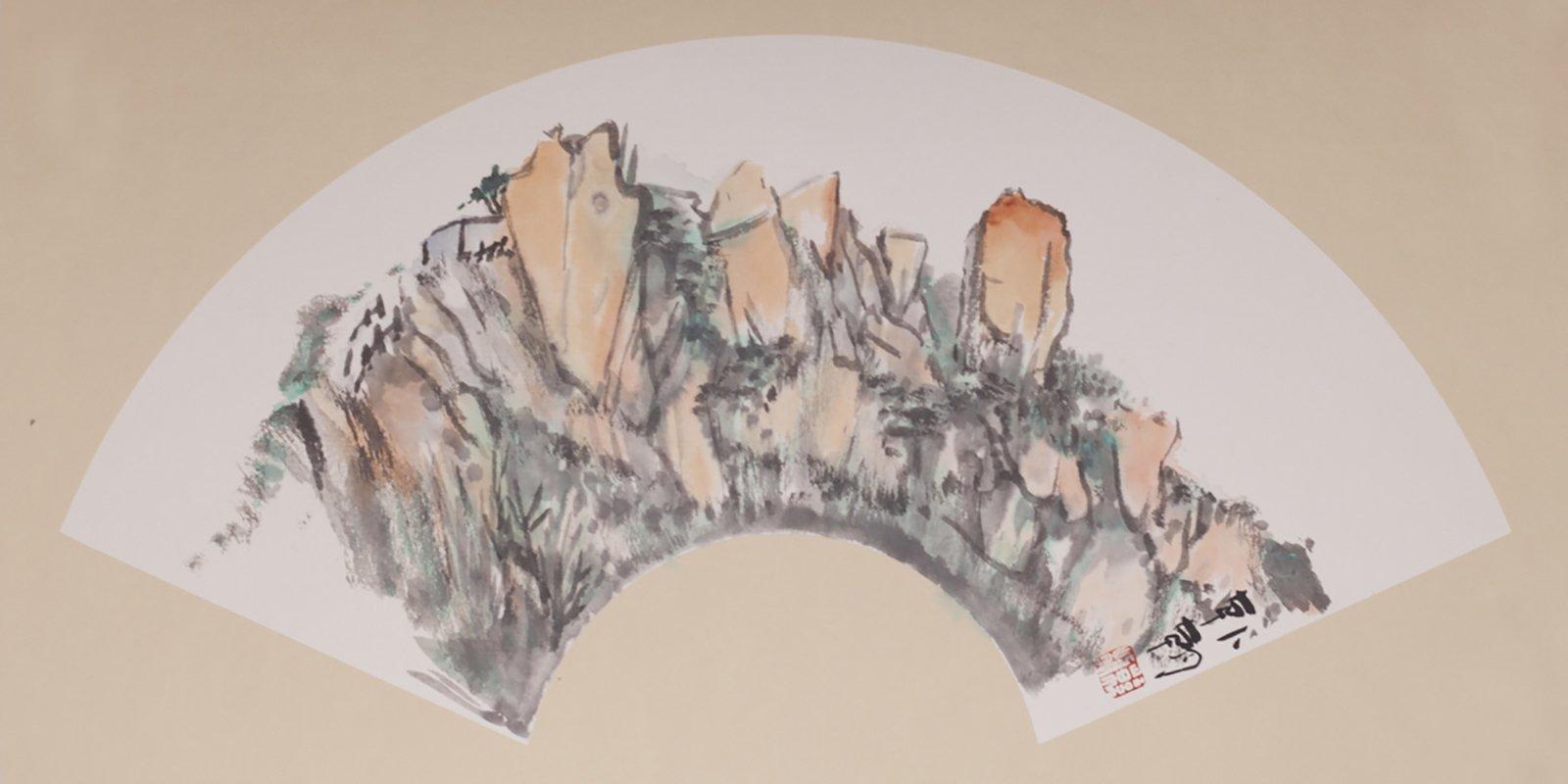 Фото: Государственный музей Востока. Хань Чао. Три вида горы Сишань. Бумага на картоне, тушь, краски