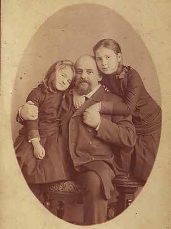 Savva Mamontov with daughters Alexandra and Vera. Photographer unknown. 1884