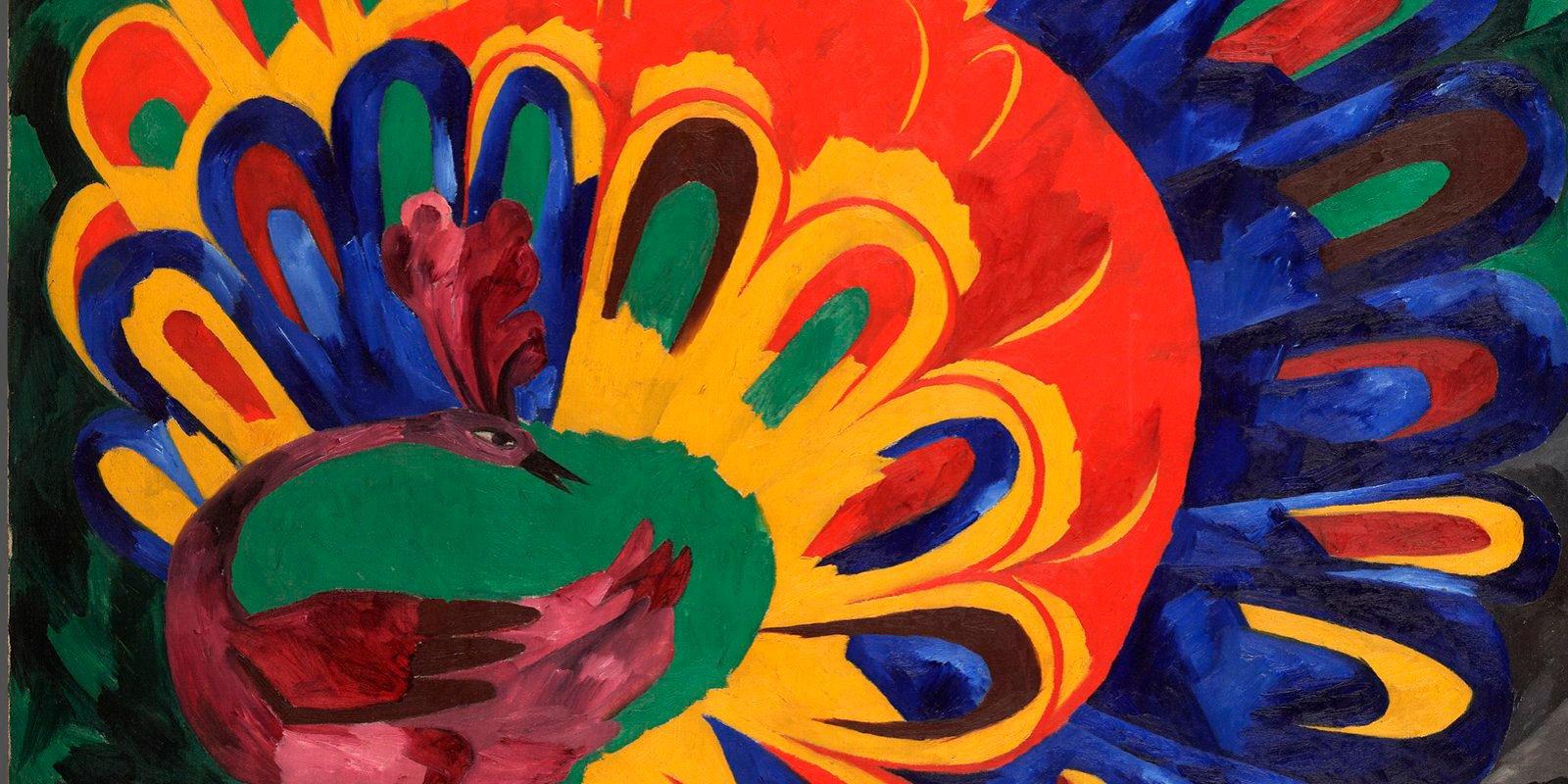 Н. Гончарова. Павлин под ярким солнцем (стиль египетский). 1911 год. Государственная Третьяковская галерея
