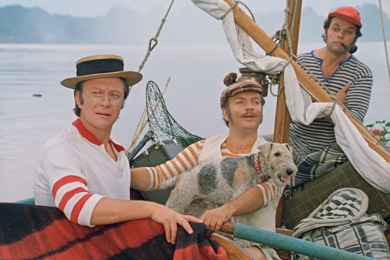 Кадр из фильма «Трое в лодке, не считая собаки». Режиссер Н. Бирман. 1979 год