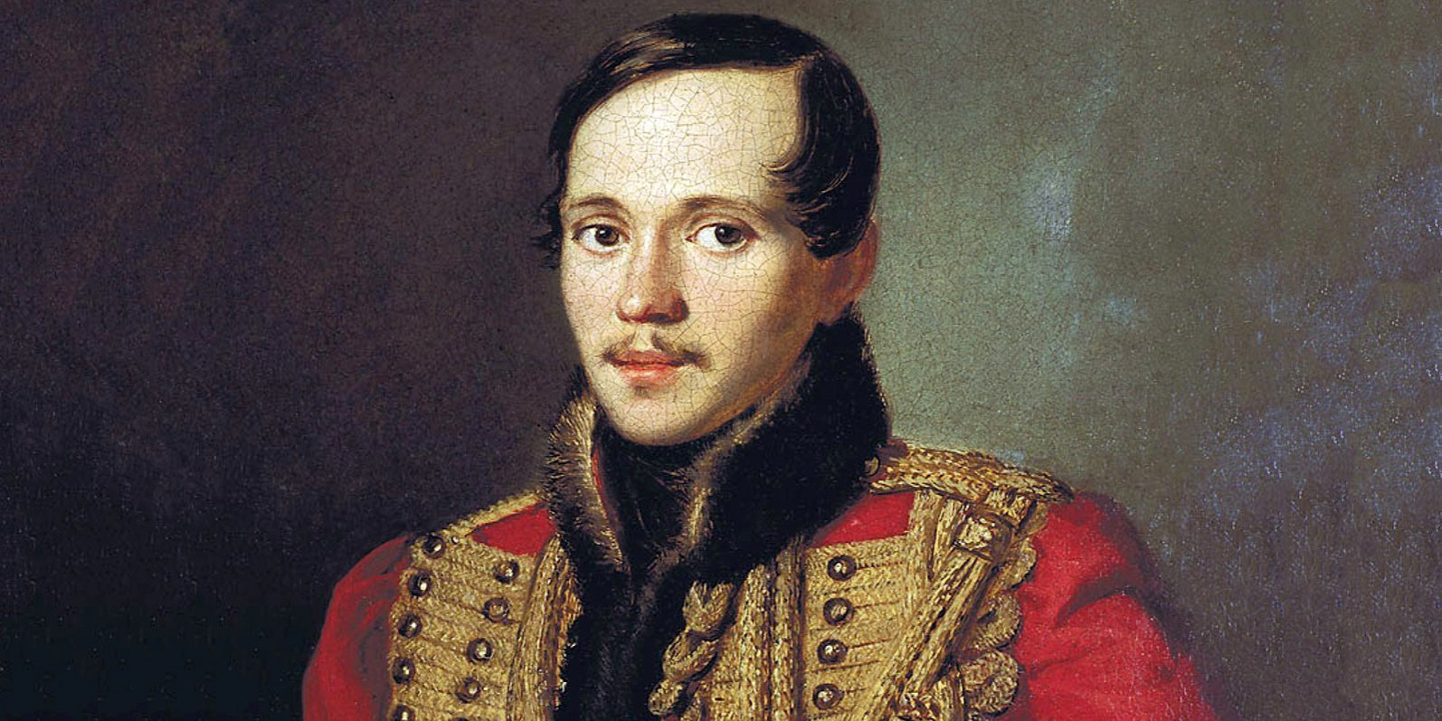 P. Zabolotsky. Portrait of Mikhail Lermontov in the pelisse of life guard hussars. Fragment. 1837
