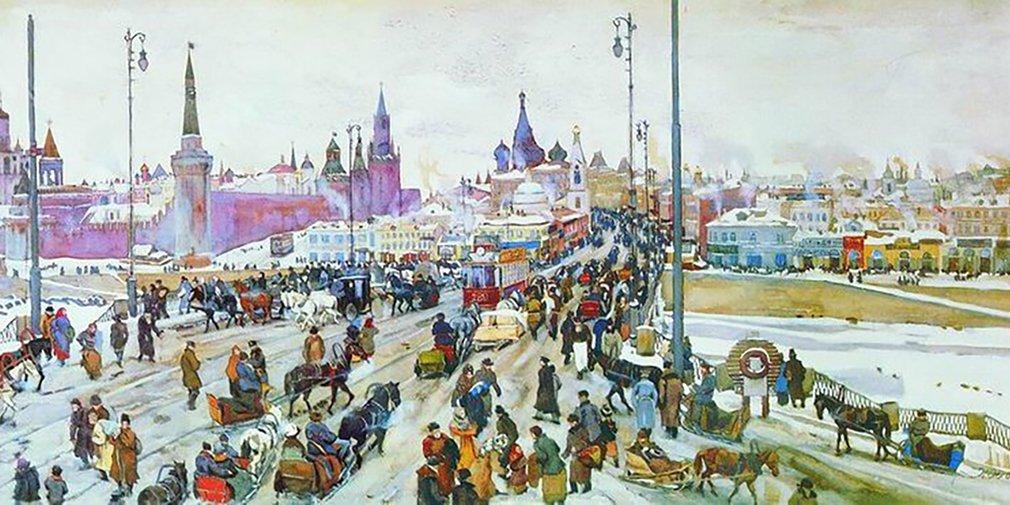 Moskvoretsky Bridge, fragment. Konstantin Yuon. 1911