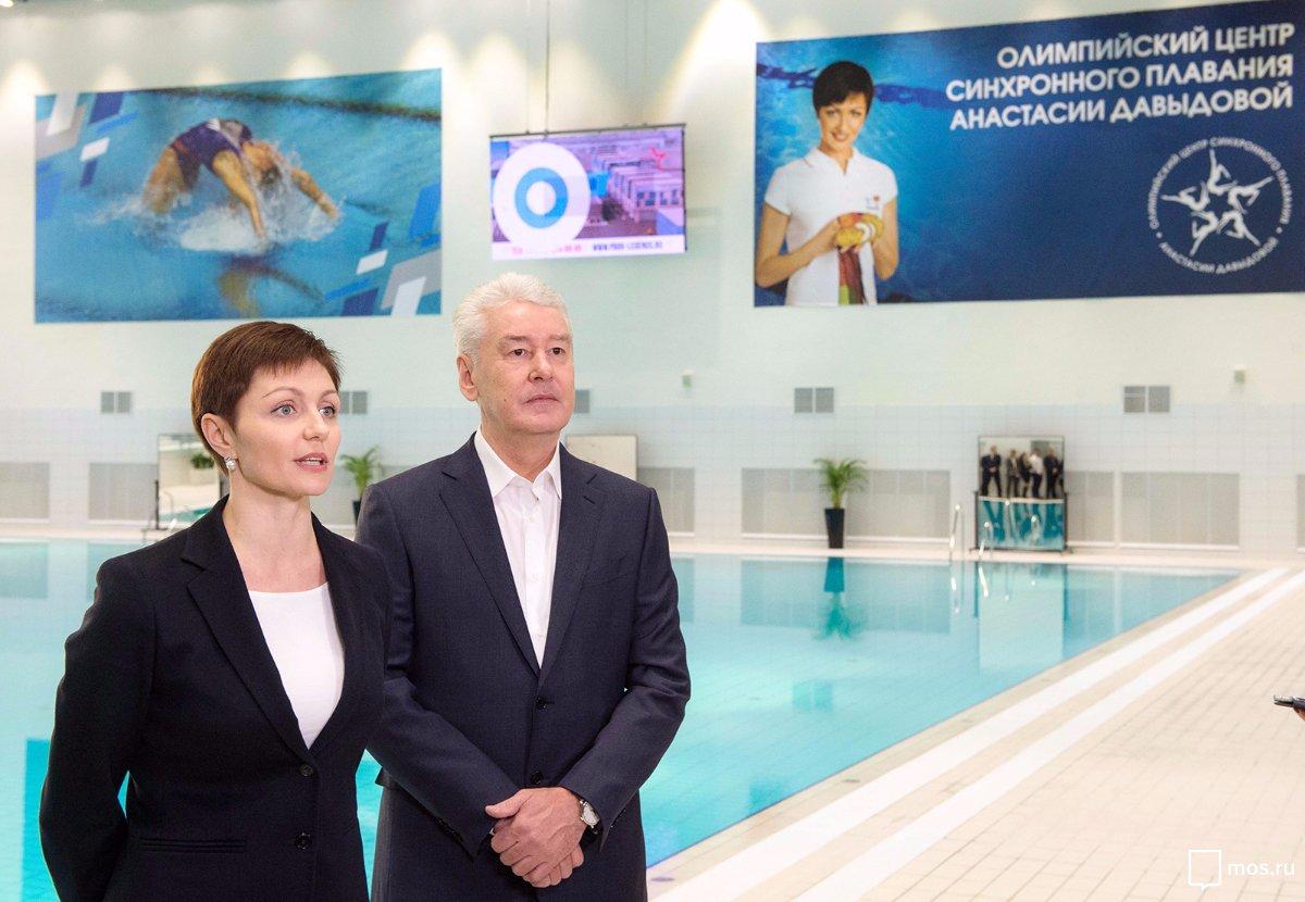 Сергей Собянин в ходе осмотра Олимпийского центра синхронного плавания на территории промзоны ЗИЛ